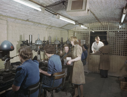 Women working in an underground munitions factory at Liverpool, 1945.