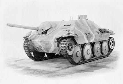 German Jagdpanzer 38(t) tank destroyer. Also known as the 'Hetzer'.