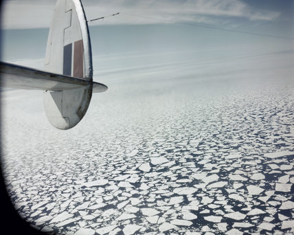 The view from a Hudson aircraft of RAF Coastal Command on an 'ice patrol' off Greenland, 1942.