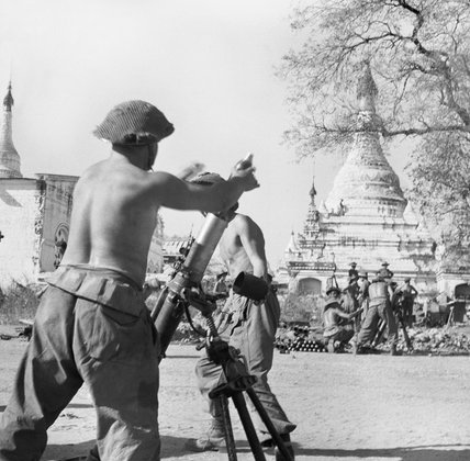 British mortars in action during the fighting for Meiktila in Burma, 28 February 1945.