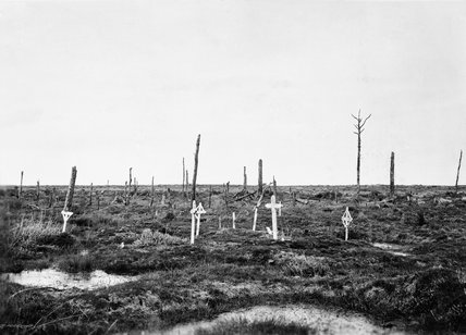 British graves in Maple Copse cemetery east of Zillebeke in the Ypres Salient, 1919.