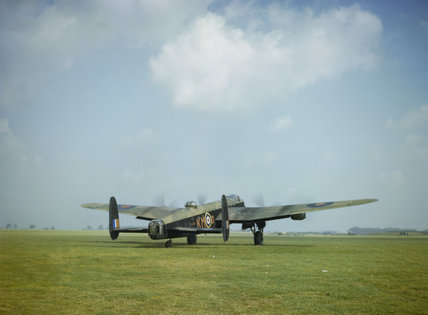 Avro Lancaster Mk I R5740/`KM-O' of No. 44 Squadron at Waddington in Lincolnshire, 29 September 1942. At the controls is Squadron Leader Pat Burnett, 'B' Flight Commander.