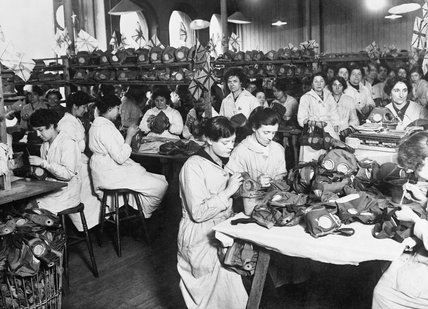 Women war workers in the doping room of a gas-mask factory during the First World War.