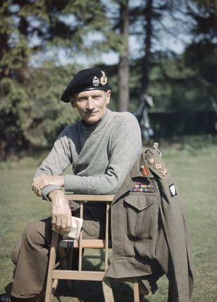 Portrait of the Eighth Army Commander, General Sir Bernard Montgomery, wearing his 'battle sweater' and tank beret, in the UK, 1943.
