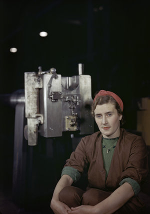 Mrs C Graham, a war worker involved in the manufacture of 17-pdr anti-tank guns, 1943.