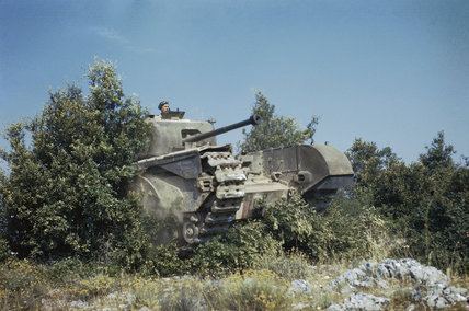 A Churchill tank of 51st Royal Tank Regiment crashes through a hedge during the advance across the Italian countryside, 20 July 1944.