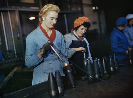 Women workers checking 25-pounder artillery shells at the small arms factory of J & F Pool Ltd in Hayle, Cornwall, 1943.