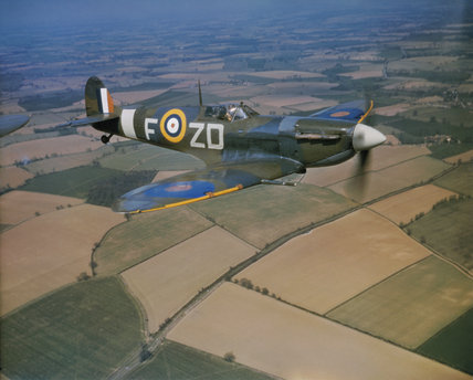 Spitfire Mark VB, AD233 'ZD-F', being flown by the Commanding Officer of No.222 Squadron RAF, Squadron Leader Richard Milne, when based at North Weald, Essex.
