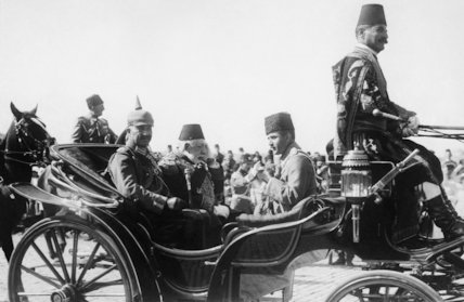 Kaiser Wilhelm II, Sultan Mehmed V of Turkey and Enver Pasha during the Kaiser's state visit to Constantinople on 15 October 1917.