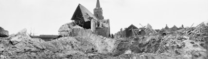 Ruined village of Mons-en-Chausee, showing the Church which was destroyed by a German mine explosion, 20th March 1917.