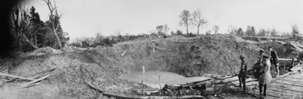 The cross roads in Tincourt, blown up by German mine explosion, April 1917.