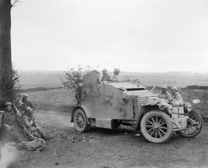 A French armoured car, Battle of Lys, 16 April 1918.