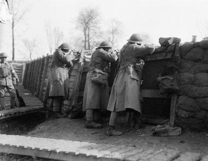 Portuguese troops in the line near Festubert, 16 March 1918.