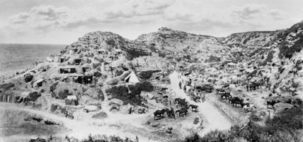 A panoramic photograph of Gully Ravine, Gallipoli, taken in the relatively peaceful days of September 1915.