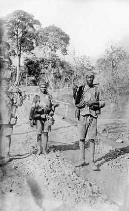 Men of the Nigerian Brigade near Ndanda, German East Africa.