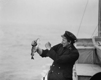 Catching fish stunned by explosion of depth charge. Harwich, 15th April 1918.