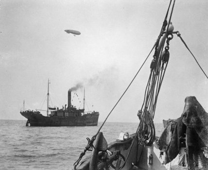 A Naval airship escorting a convoy.