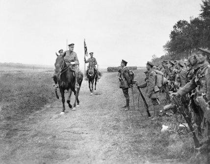 General Sir Douglas Haig, Commander of the British Expeditionary Force, reviewing Canadian troops following the Battle of Amiens.