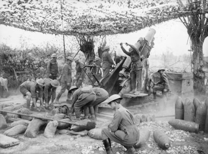 The 55th Australian Siege Battery in action with 9.2 inch howitzer near Voormezeele.