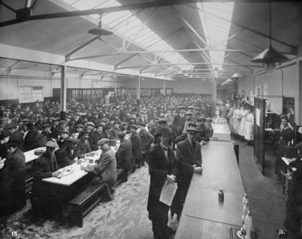 Munitions workers during lunchtime at the National Shell Filling Factory at Chilwell, Nottinghamshire,18 November 1916.