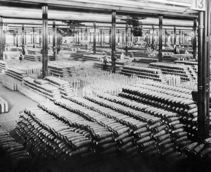 View across the filled shell store at the National Shell Filling Factory at Chilwell, Nottinghamshire, 5 November 1918.