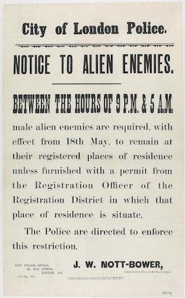 CITY OF LONDON POLICE. NOTICE TO ALIEN ENEMIES