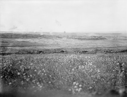 Battle of Albert. Scene of the successful British attack on La Boisselle. In the foreground is the original British front line and the crater formed by the explosion of a mine before the advance took place. 3rd July 1916