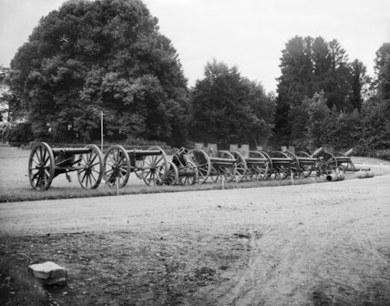 German guns and trench mortars, captured during the Battle of the Somme, 1916.
