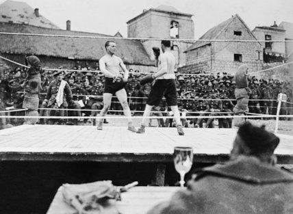 Boxing tournament held by the 14th Battalion, London Regiment (London Scottish) at Mont-Saint-Éloi.