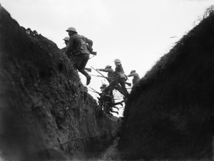 The King's Liverpool Regiment, 55th Division, practising an attack near Blaireville, Wailly, 16th April 1916.