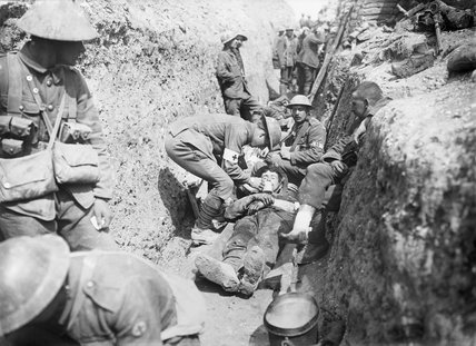 wounded men being tended in a trench near beaumont hamel on the morning of the initial assault. Black Bedroom Furniture Sets. Home Design Ideas