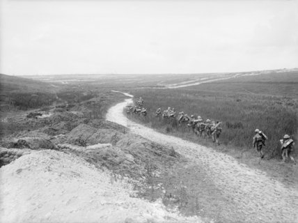 Bomb carrying party of the Sherwood Foresters going up to the front line at La Boisselle, Somme, 6th July 1916.