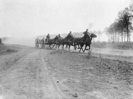 Australian Field Artillery ammunition limber, galloping up to the lines near Becourt, July 1916.