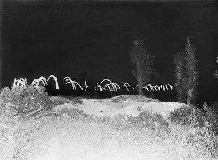 Night scene on the battlefield at La Boisselle, Somme, September 1916.