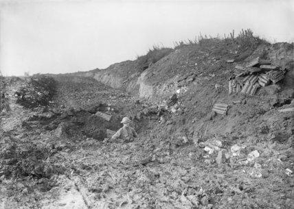 Shell hole on a sunken road near Contalmaison, Somme, September 1916.