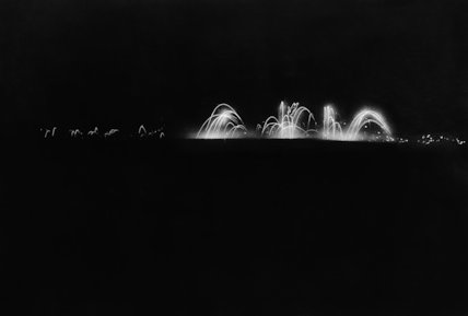 Night scene on the battlefield, showing Verey lights being fired from the trenches, Thiepval, Somme, 7 August 1916.