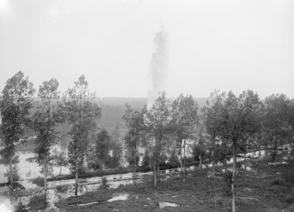 Enemy shell bursting on flooded ground in Aveluy Wood, 7th August 1916.