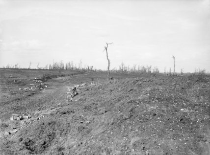 The road leading to Longueval through the ruined village of Flers, Somme, September 1916