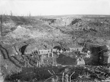 The ruined village of Beaumont Hamel, with grave monuments erected by the Germans to their fallen comrades, Somme, 26th November 1916.
