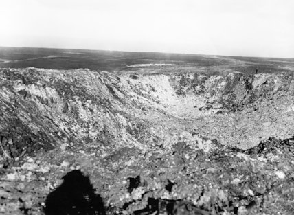 The vast crater formed by the detonation of a mine beneath Hawthorn Ridge, Beaumont Hamel on 1st July 1916, the first day of the Battle of the Somme.