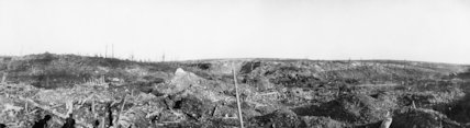 Panoramic view of the ruined village of Beaumont Hamel, Somme, November 1916.