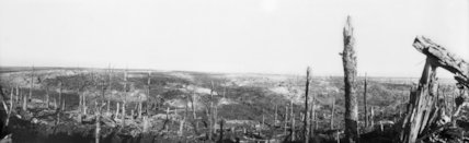 Panoramic view of the battlefield at Beaumont Hamel, Somme, November 1916.