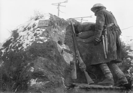 A South African soldier mans a gas alarm post near Fricourt, December 1916.