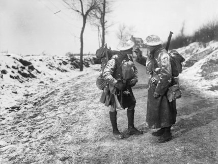Two South African soldiers on the Beaumont Hamel Road, Somme, December 1916.