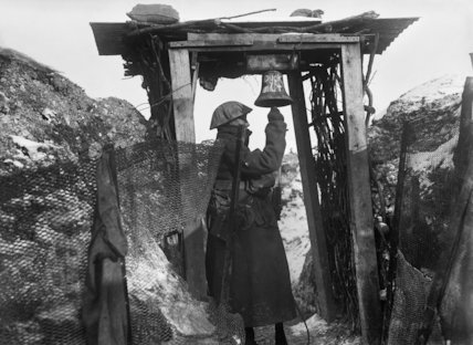 Gas alarm in trenches at Beaumont Hamel, Somme, December 1916.