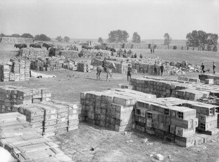 The Royal Artillery shell dump near Fricourt.