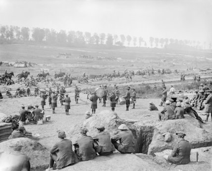 Battle of Bazentin Ridge. Regimental pipe band of the 8th Battalion, Black Watch playing in Carnoy Valley, Somme, 14 July 1916.