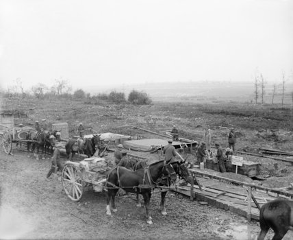 An advanced water supply point on the Mametz Road near Fricourt, Somme, July 1916.