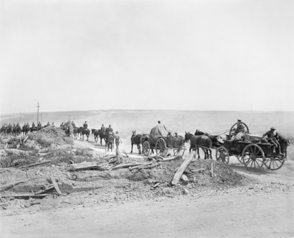 Transport passing up the Albert-Fricourt road. Somme, August 1916.
