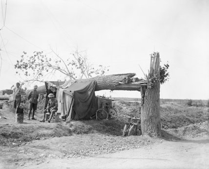 A British traffic control post on the Fricourt-Maricourt road, Somme, September 1916.